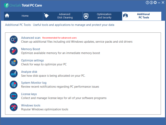 OneSafe Total PC Care latest version