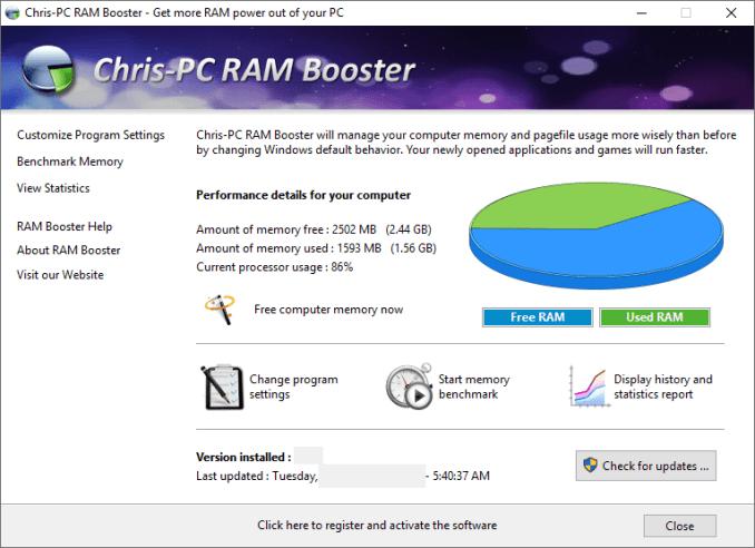 ChrisPC RAM Booster windows