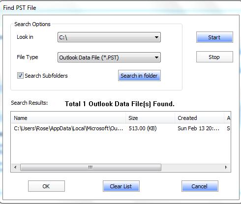 Find PST File
