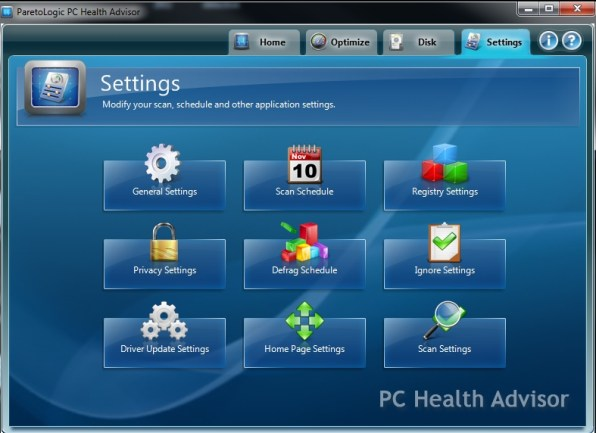 PC Health Advisor Settings
