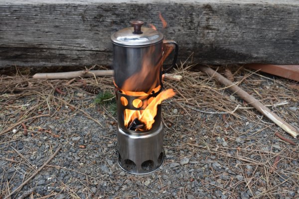 backpacking camp stove and pot
