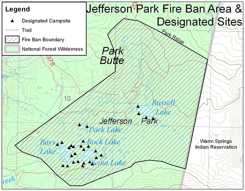 Jefferson Park Camp Map - PCT: Oregon