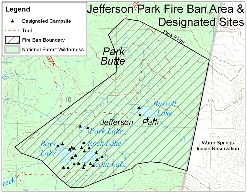 Map of designated campsites in Jefferson Park area. Map courtesy of U.S. Forest Service.