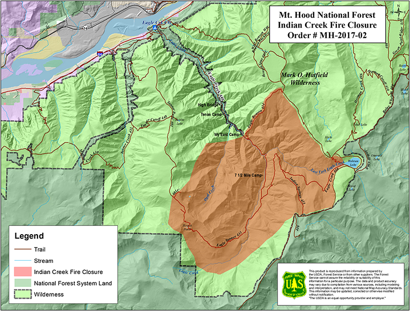 eagle creek fire map