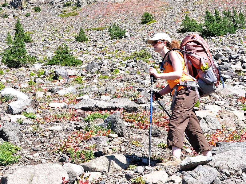 PCT hiker traversing the flank of Three Fingered Jack.