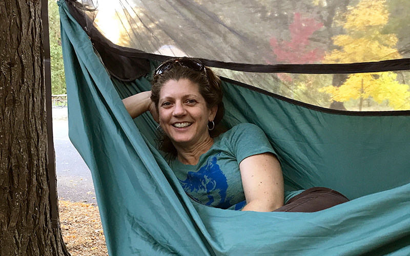 hiker in therm-a-rest hammock house