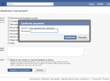 in questa immagine è presente la schermata di facebook che permette di disattivare il proprio account.