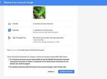 in questa immagine è presente la schermata di google che permette di eliminare il proprio account.
