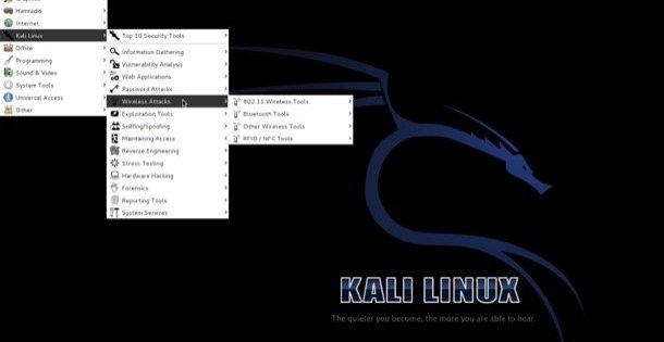 in questa immagine è presente la schermata principale di kali linux