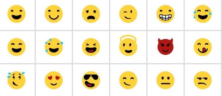 questa immagine mostra alcune tra le più comuni emoji per windows phone.