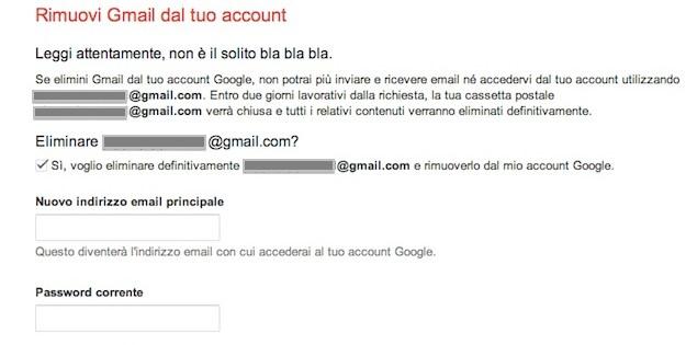 account gmail rimozione