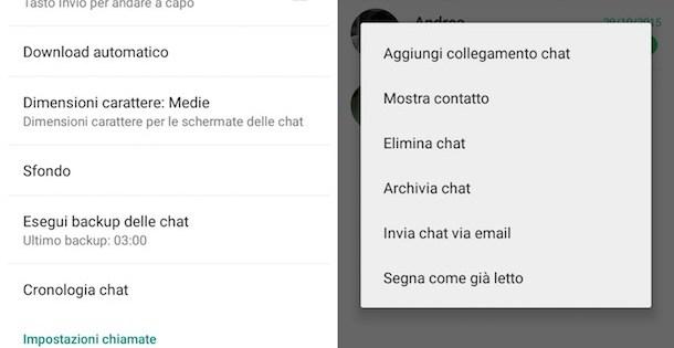 questa immagine mostra la schermata per effettuare il backup delle conversazioni di whatsapp.