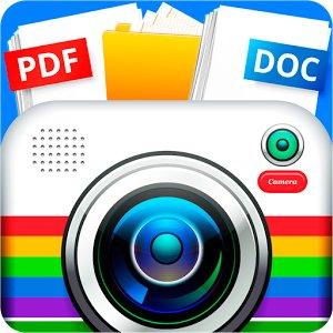 fotocamera colorata centrale con icone pdf e doc sopra