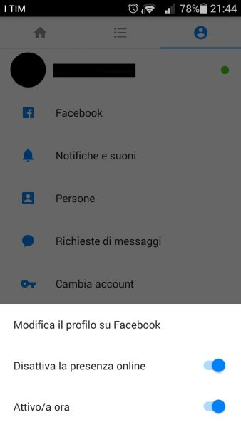 Rimuovere account Facebook Messenger