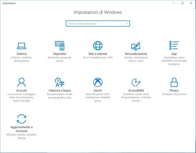 screenshot impostazioni di windows 10