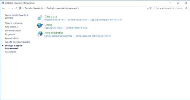 Screenshot opzioni di orologio windows 10