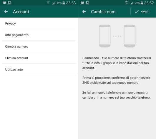 Istruzioni per cambiare numero su WhatsApp