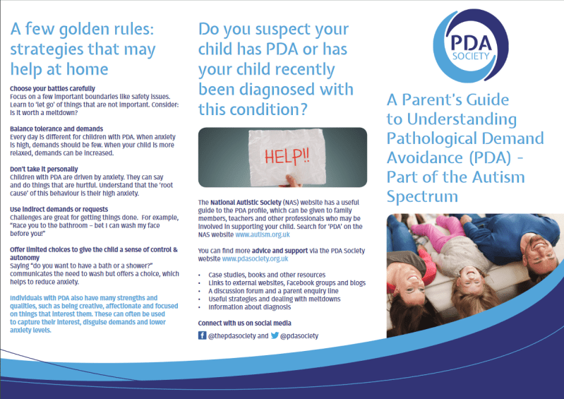 Leaflet: A parent's guide to understanding PDA
