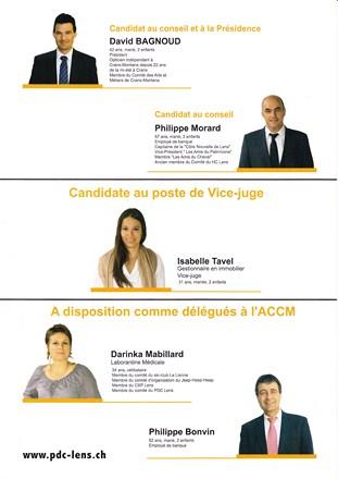 Candidats 2012 à l'élection communale
