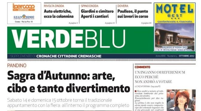 Online il numero di ottobre 2017 di Verdeblu