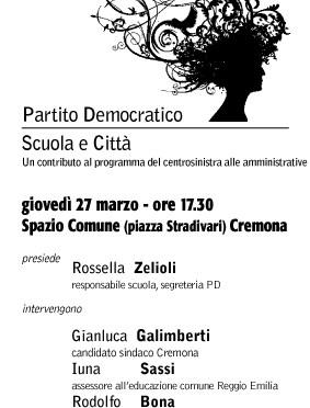 Scuola e città. Il contributo del PD alle amministrative. Giovedì 27 marzo ore 17.30, Cremona