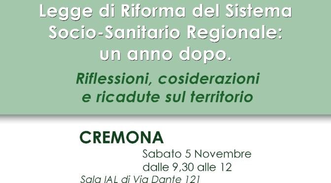 """Sanità in Lombardia, un anno dopo la Riforma. ALLONI (PD): """"INCONTRO A CREMONA PER FARE IL PUNTO, SABATO 5 NOVEMBRE"""""""