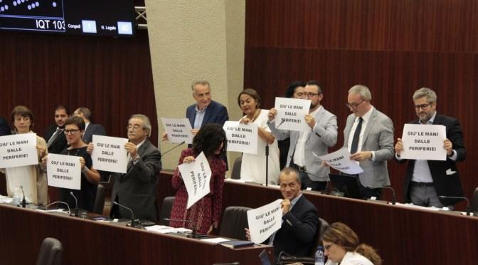 Bando periferie: protesta del Partito Democratico in consiglio regionale
