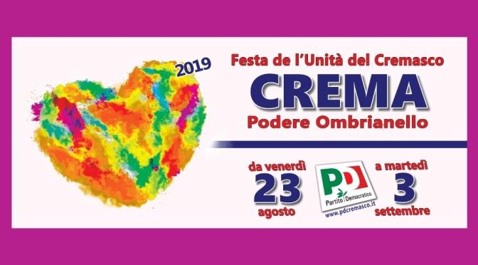 Ombrianello 2019: dal 23 agosto al 3 settembre la grande Festa de l'Unità alle porte di Crema