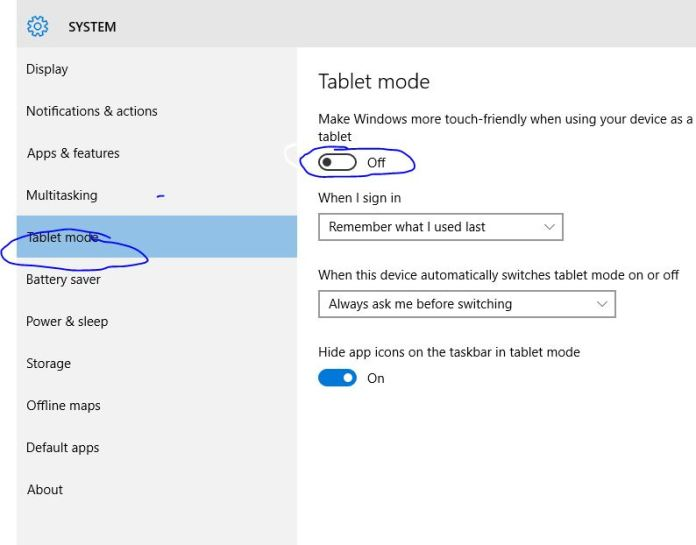 Tablet Mode - Turn On or Off in Windows 10