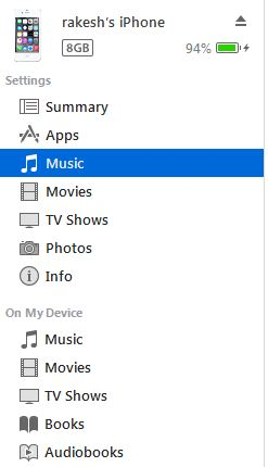 click on Music tab section in left menu