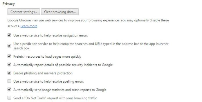 privacy section of chrome browser