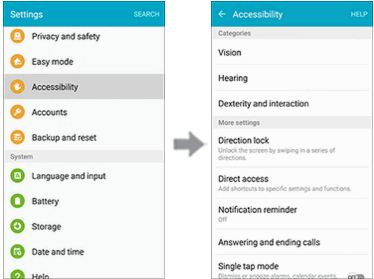 Accessibility features on the Samsung Galaxy S6