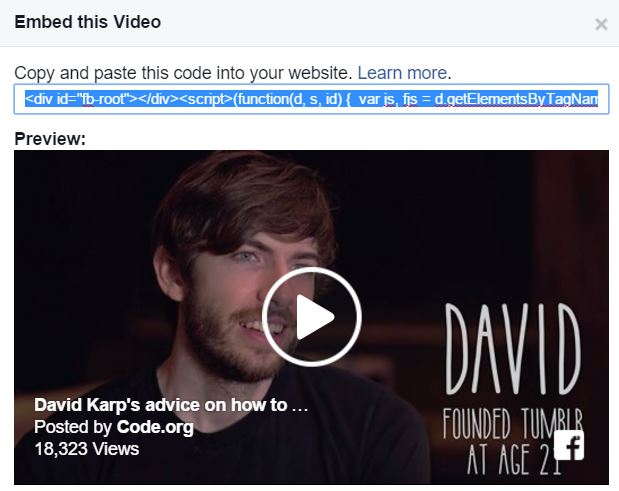 Embed Facebook Video into Your Website