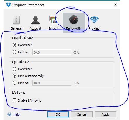 Limit Downloading and Uploading speed with Dropbox Application