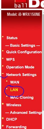 How to change default IP address to new IP for LAN wireless router access