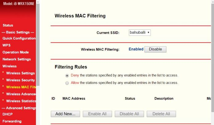 How to disable MAC address filtering on a wireless router