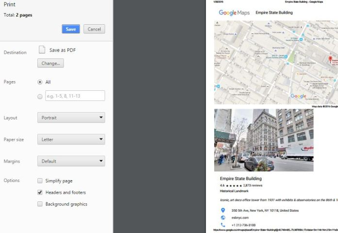 Save Google maps as a pdf