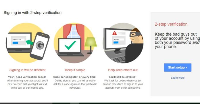 Enable Two Step Verification on Google gmail account