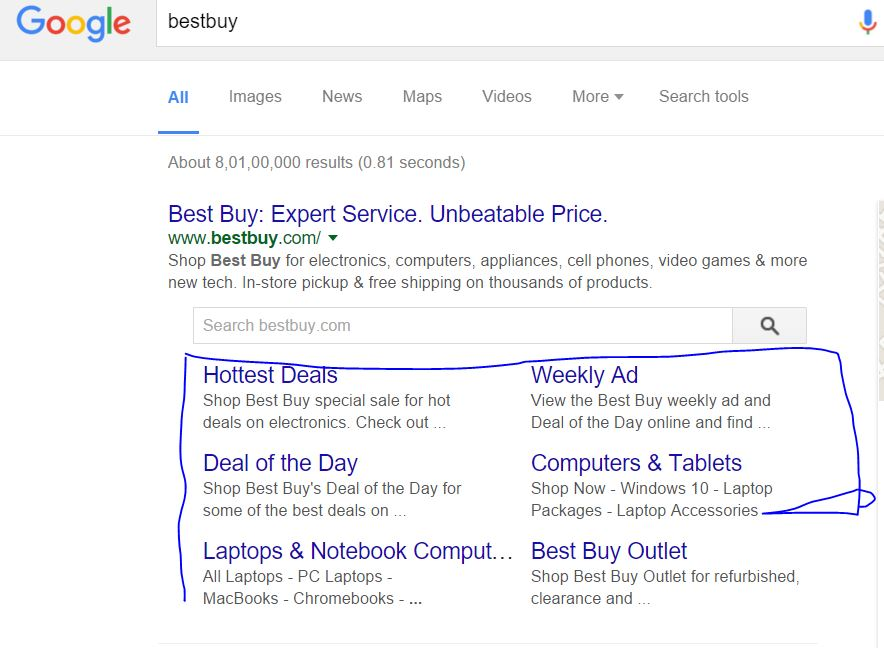 google search result with website subheadings or sitelinks