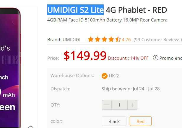 UMIDIGI S2 Lite Free Shipping Just for $149.99