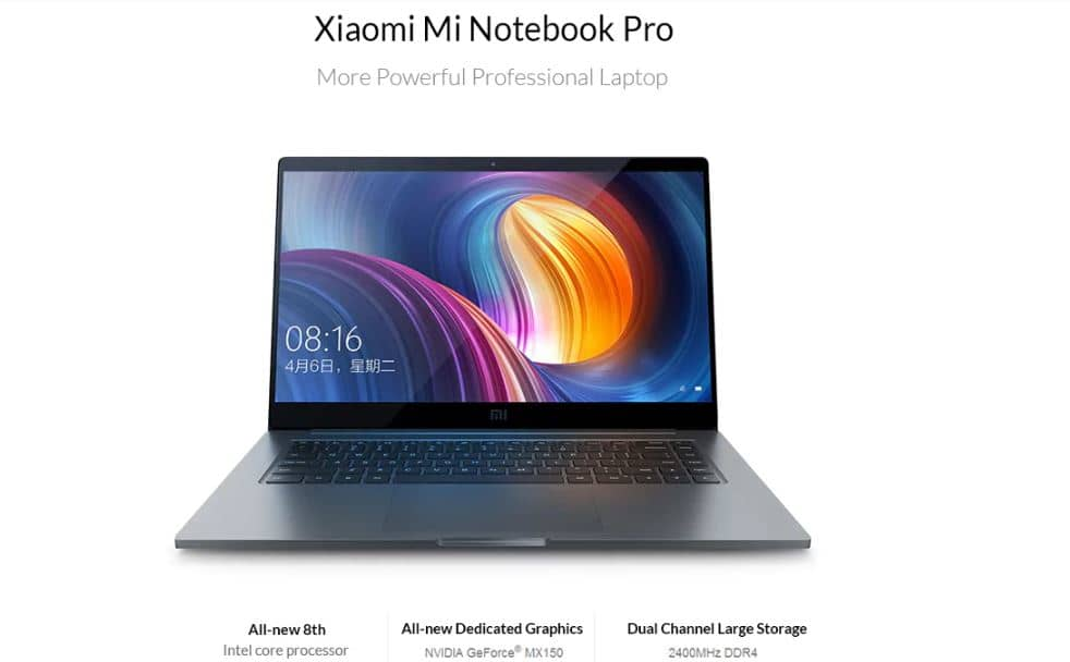 Xiaomi Mi Notebook Pro Interl Core i5 8GB,256GB SSD Coupon Code inside