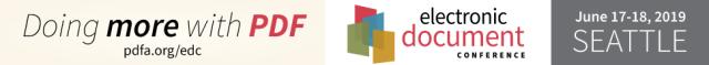 EDC logo, doing more with PDF