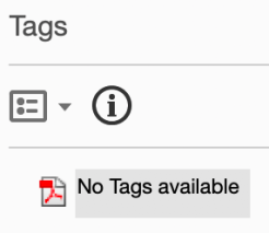 """Screenshot of Tags interface showing """"No tags available""""."""