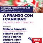 A pranzo con i candidati: sabato 10 febbraio a Poggio Renatico