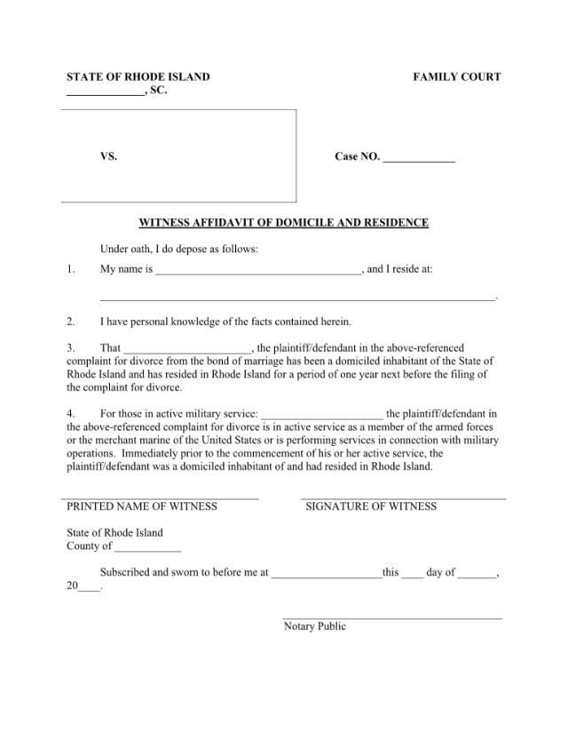RI Witness Affidavit of Domicile and Residence - Complete Legal