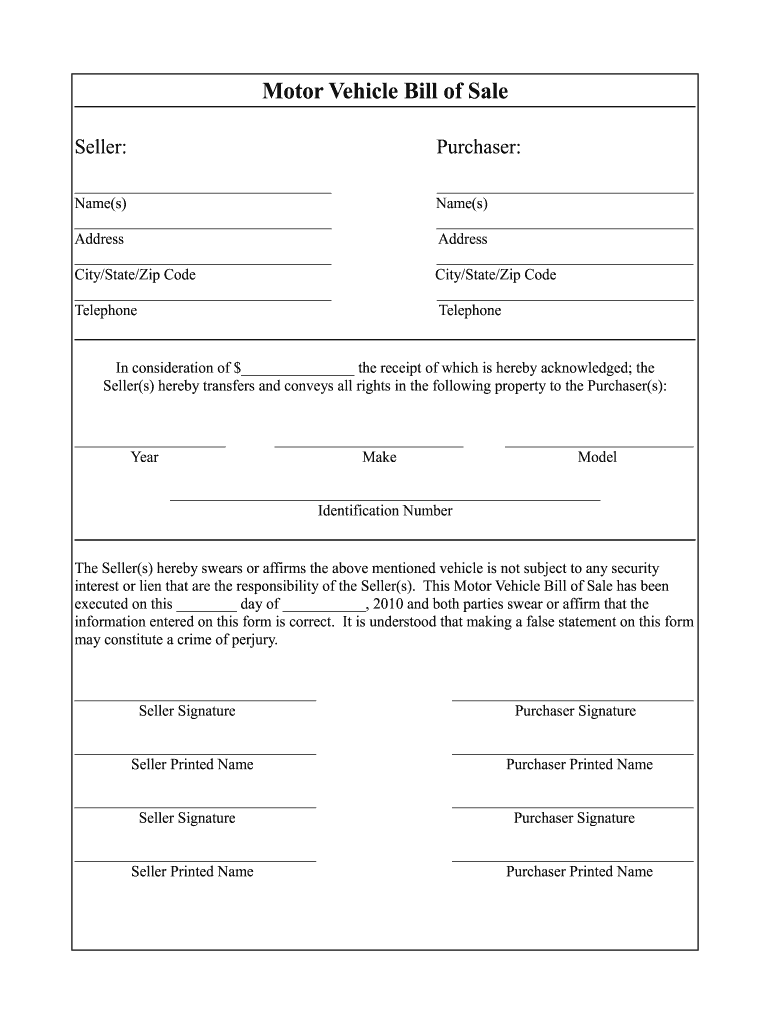 Vehicle Bill Of Sale Template Fillable Pdf Fill Online