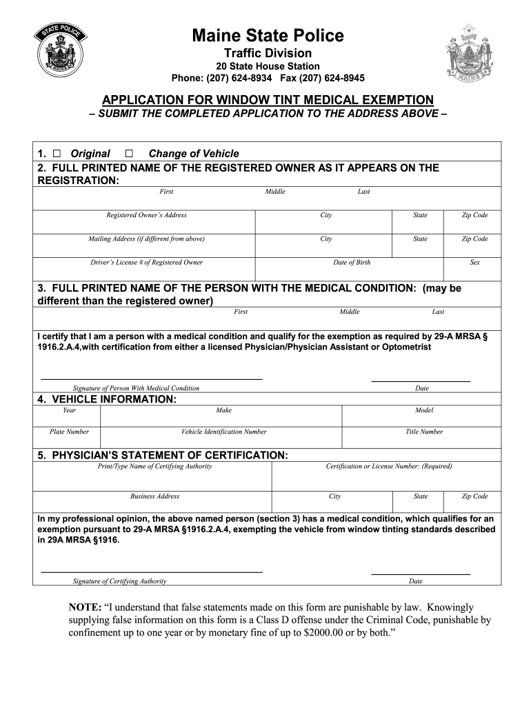 Maine Window Tint Exemption Form Fill Online Printable Fillable Blank Pdffiller
