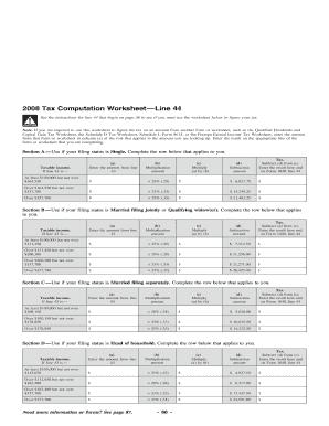 2008 Tax Computation Worksheet Line 44 Fill Online