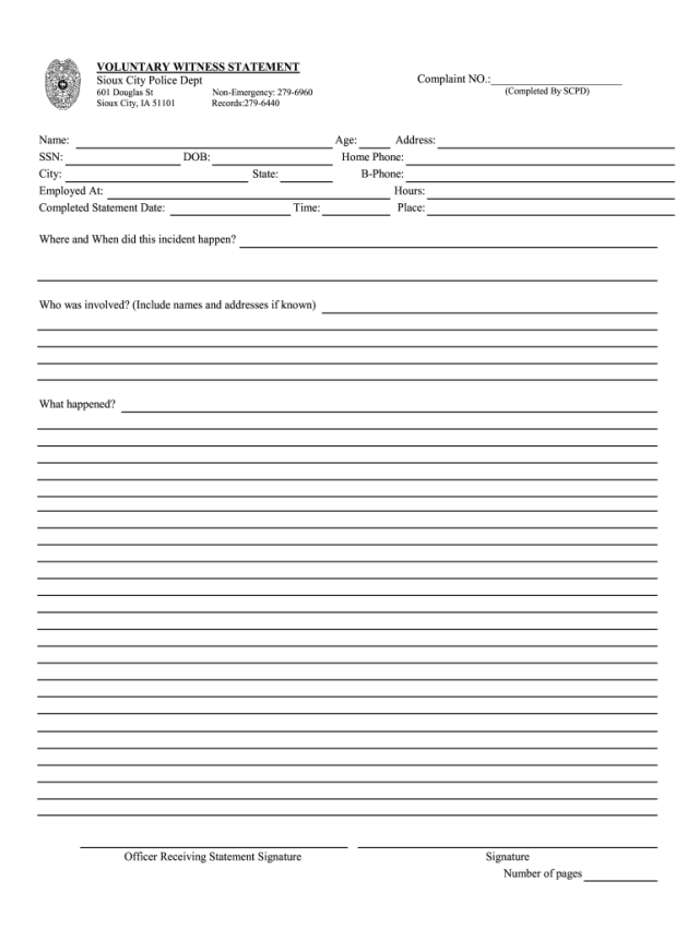 Police Witness Statement Template - Fill Online, Printable