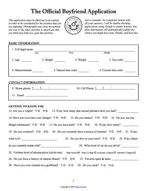 Boyfriend Application Fill Online Printable Fillable